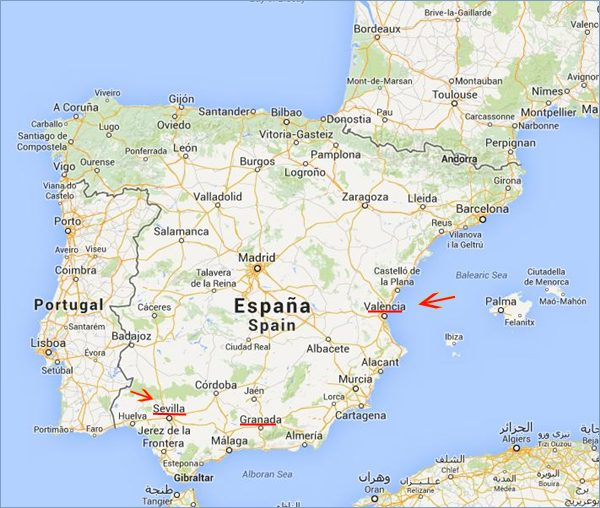 Route de Séville à Valence en Espagne